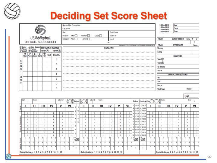 Deciding Set Score Sheet