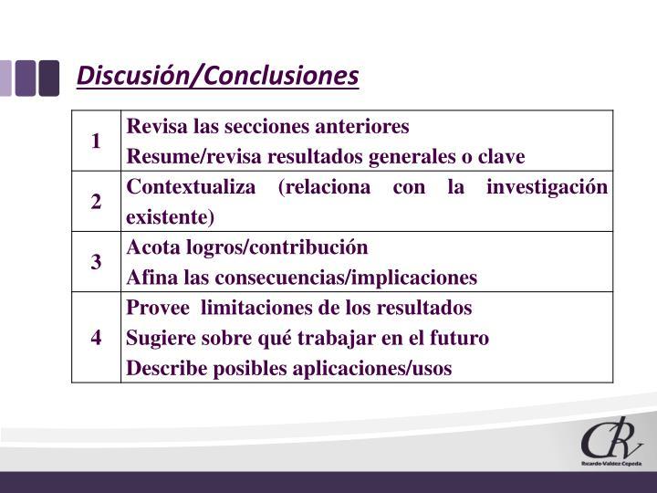 Discusión/Conclusiones