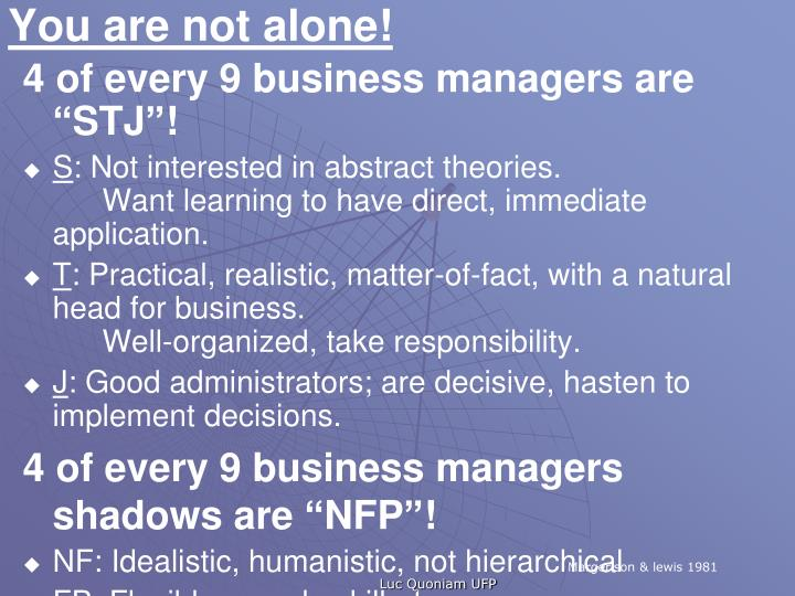"4 of every 9 business managers are ""STJ""!"