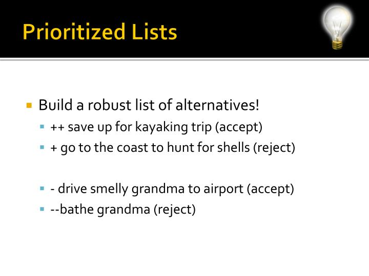 Prioritized Lists