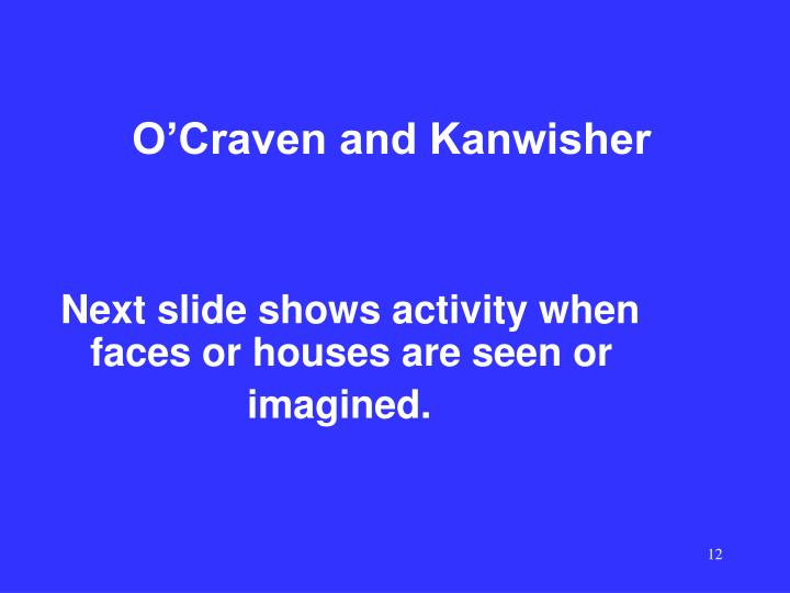 O'Craven and Kanwisher