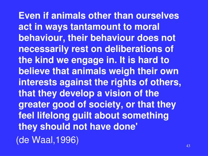 Even if animals other than ourselves act in ways tantamount to moral behaviour, their behaviour does not necessarily rest on deliberations of the kind we engage in. It is hard to believe that animals weigh their own interests against the rights of others, that they develop a vision of the greater good of society, or that they feel lifelong guilt about something they should not have done'