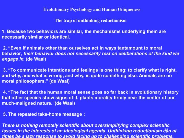 Evolutionary Psychology and Human Uniqueness
