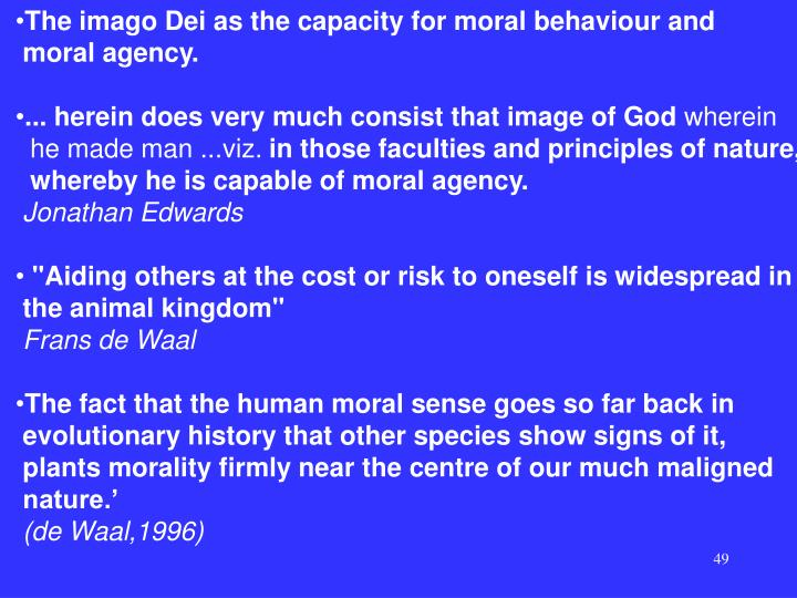 The imago Dei as the capacity for moral behaviour and
