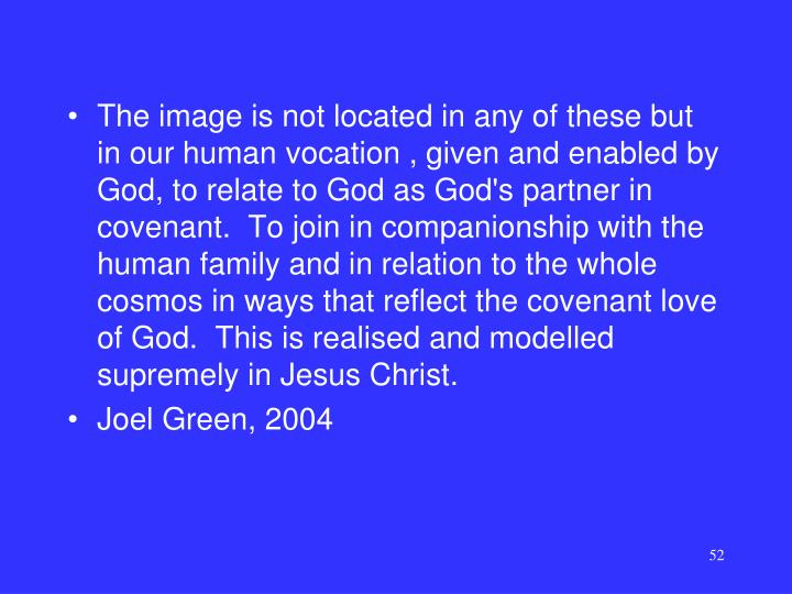 The image is not located in any of these but in our human vocation , given and enabled by God, to relate to God as God's partner in covenant.  To join in companionship with the human family and in relation to the whole cosmos in ways that reflect the covenant love of God.  This is realised and modelled supremely in Jesus Christ.