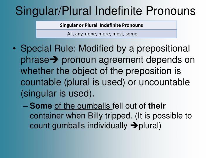 Singular/Plural Indefinite Pronouns