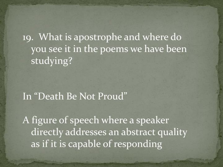 19.  What is apostrophe and where do you see it in the poems we have been studying?