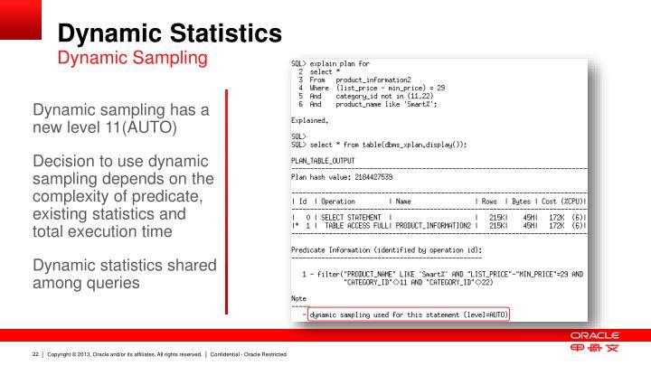 Dynamic Statistics