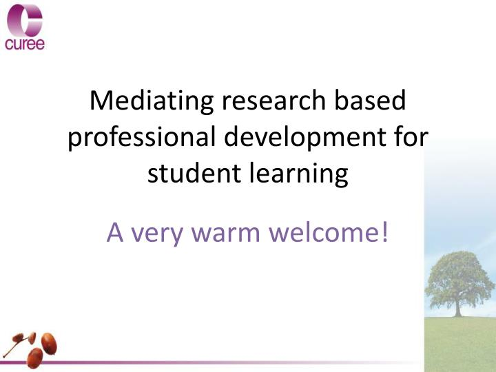Mediating research based professional development for student learning