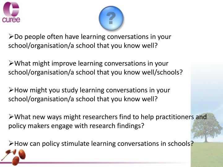 Do people often have learning conversations in your school/organisation/a school that you know well?