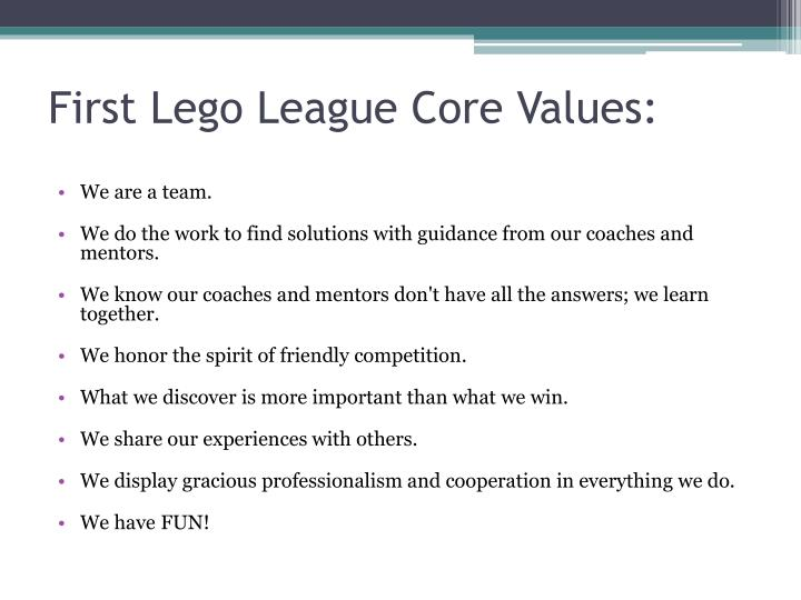 First Lego League Core Values: