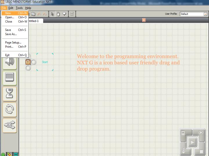 Welcome to the programming environment.  NXT G is a icon based user friendly drag and drop program.