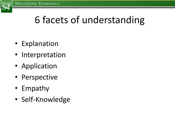 6 facets of understanding