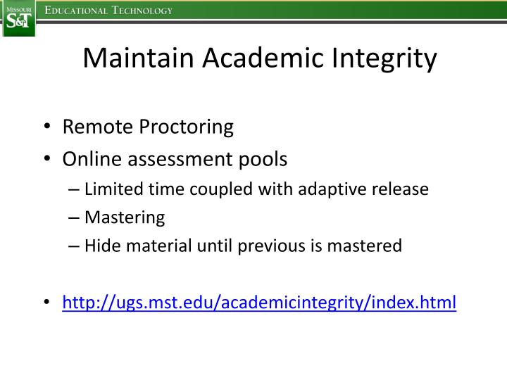 Maintain Academic Integrity
