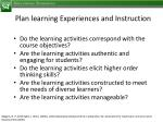 plan learning experiences and instruction