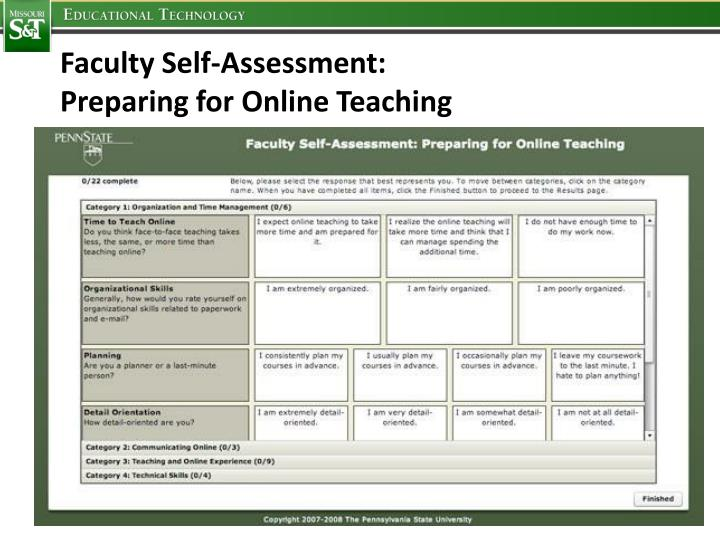 Faculty Self-Assessment: