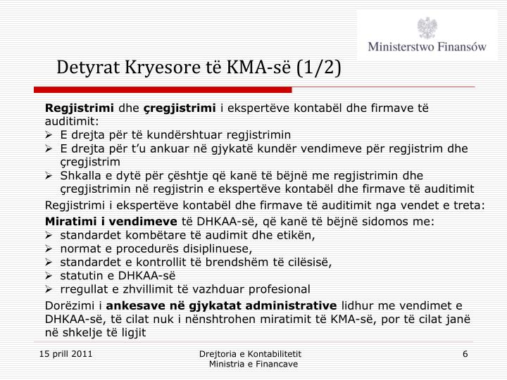Detyrat Kryesore të KMA-së (1/2)