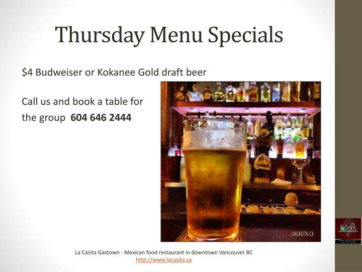 Thursday Menu Specials