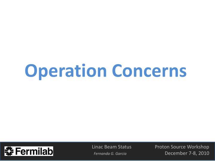 Operation Concerns