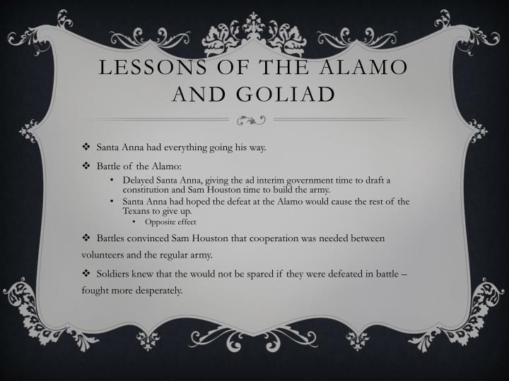 Lessons of the alamo and goliad