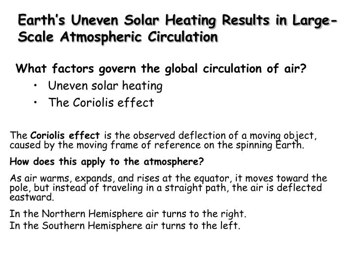 Earth's Uneven Solar Heating Results in Large-Scale Atmospheric Circulation