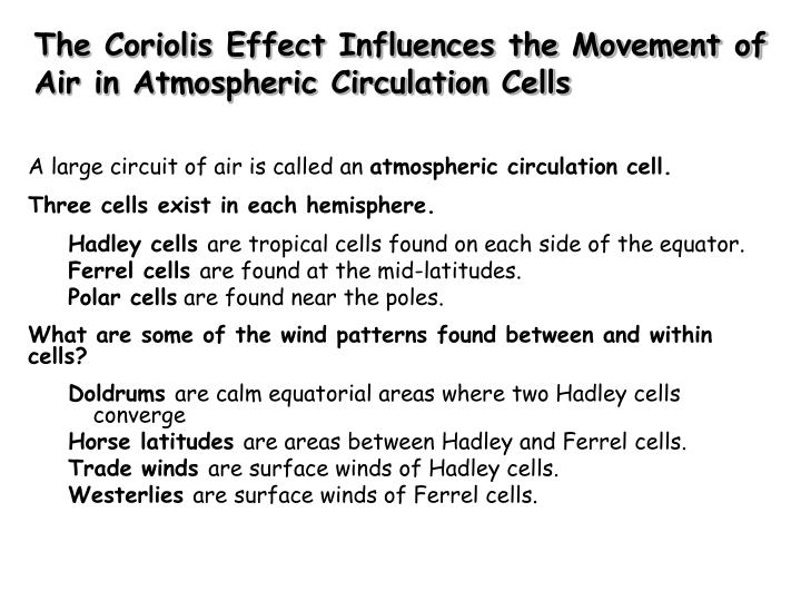 The Coriolis Effect Influences the Movement of Air in Atmospheric Circulation Cells