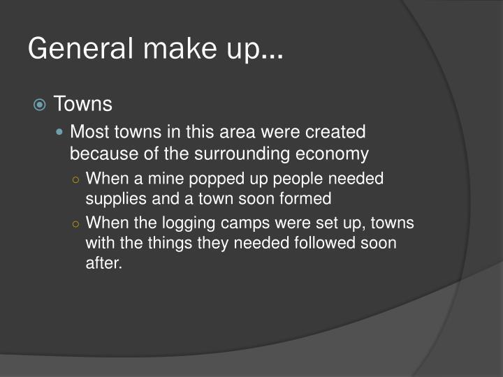 General make up…