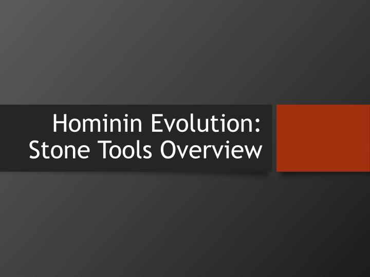 Hominin evolution stone tools overview