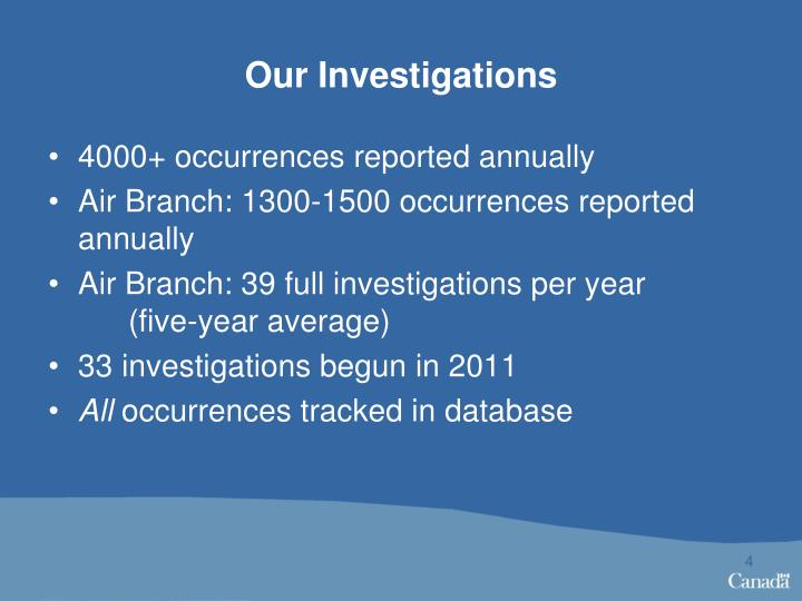 Our Investigations