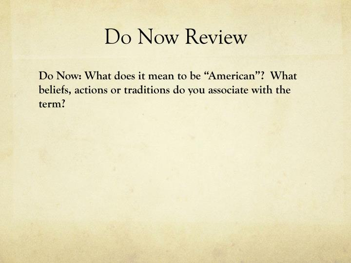 Do now review