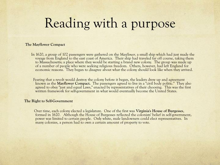 Reading with a purpose