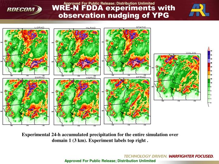 WRE-N FDDA experiments with observation nudging of YPG