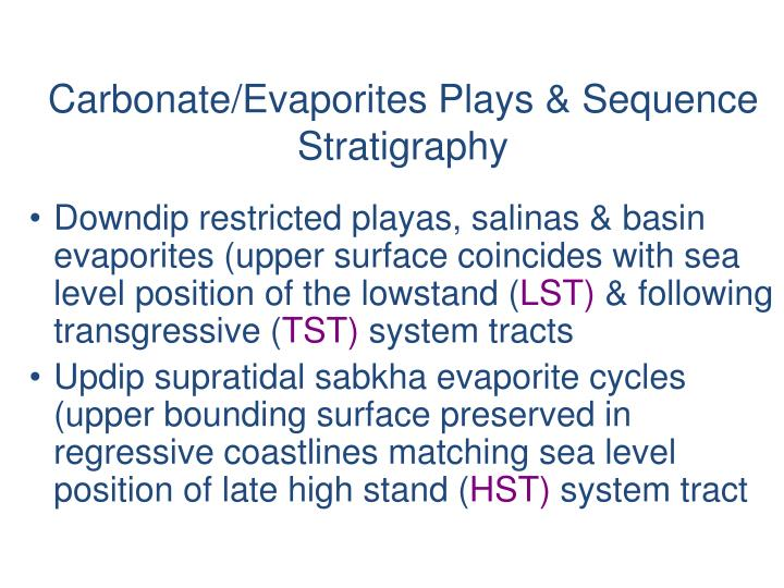 Carbonate/Evaporites Plays & Sequence Stratigraphy