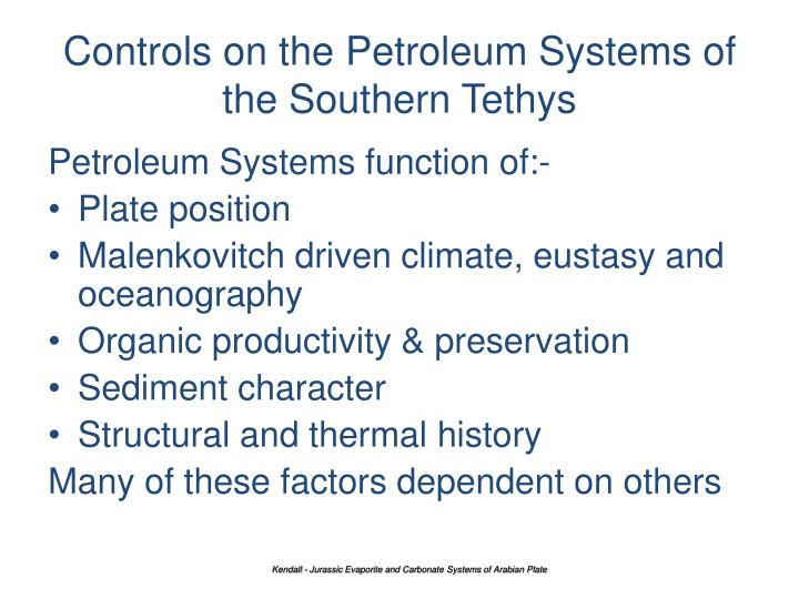 Controls on the Petroleum Systems of the Southern Tethys