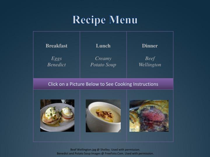 Recipe Menu