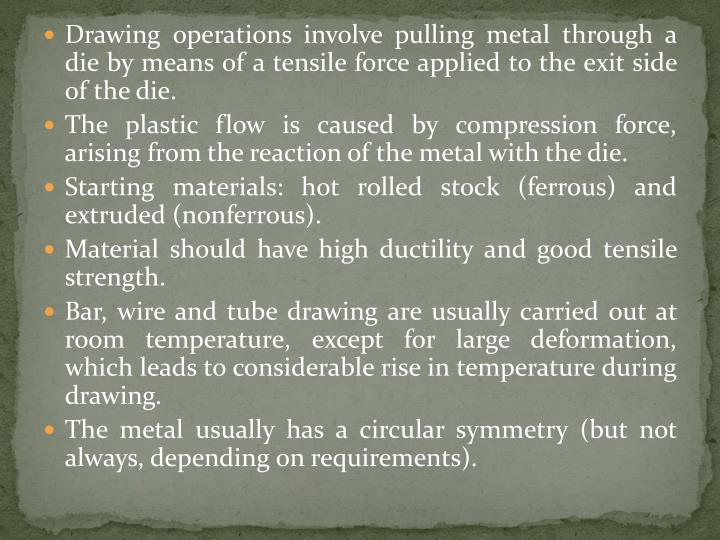 Drawing operations involve pulling metal through a die by means of a tensile force applied to the exit side of the die.