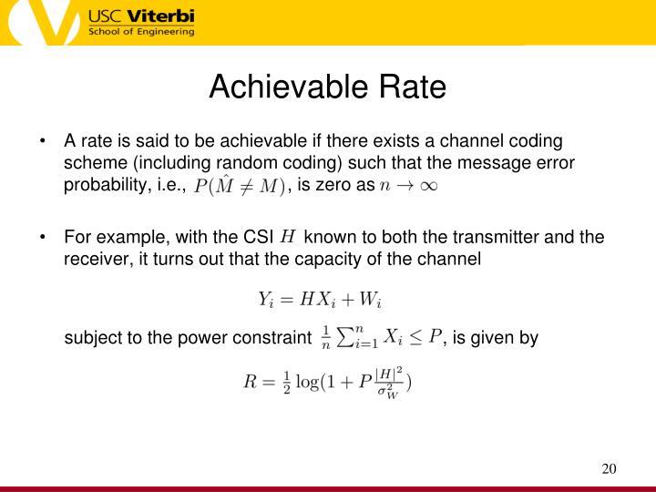Achievable Rate