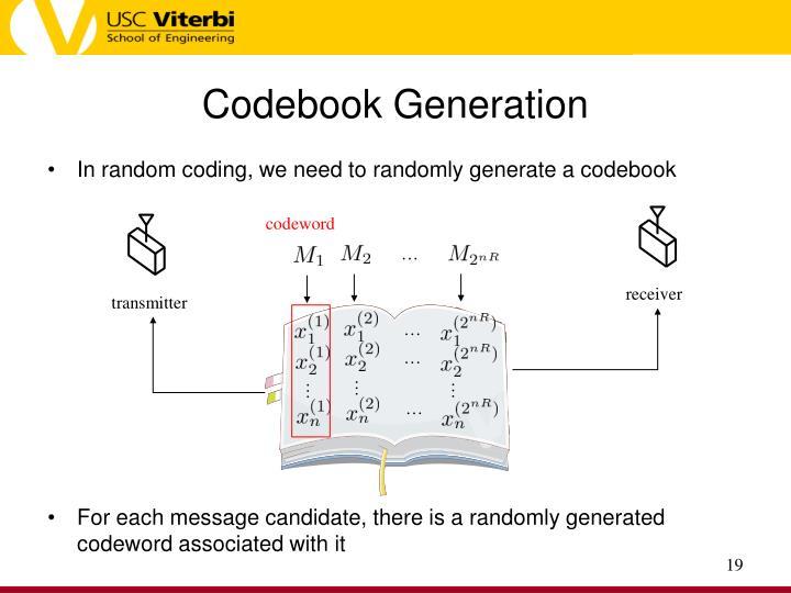 Codebook Generation