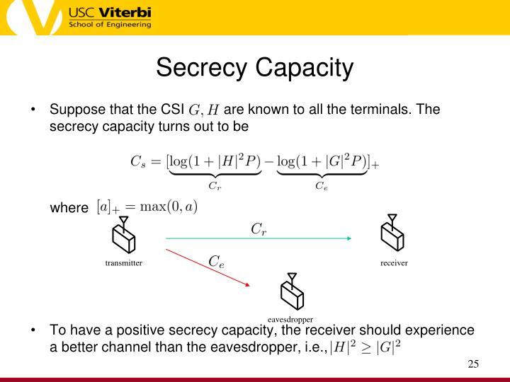 Secrecy Capacity