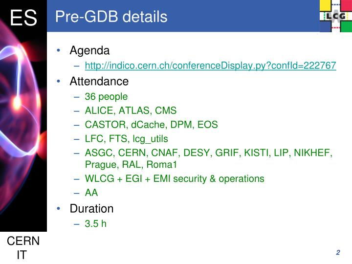 Pre-GDB details