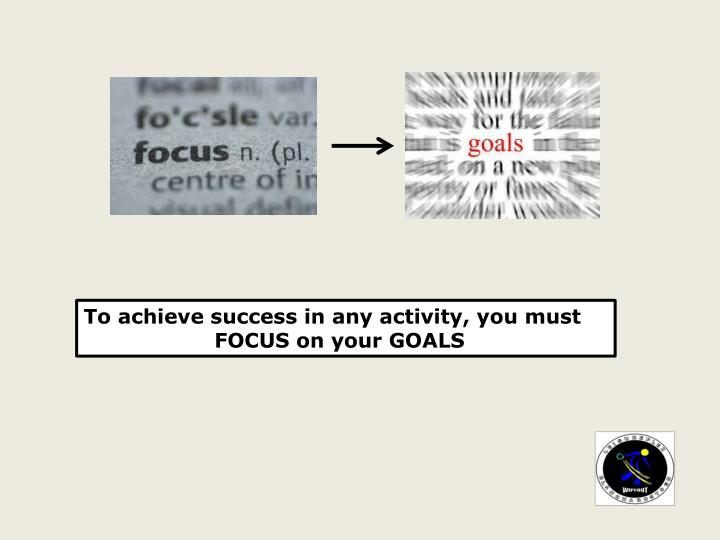 To achieve success in any activity, you must