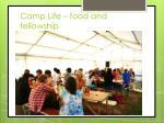 camp life food and fellowship
