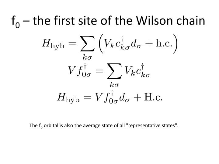 F 0 the first site of the wilson chain