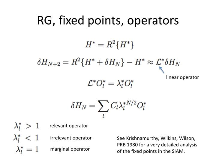 RG, fixed points, operators