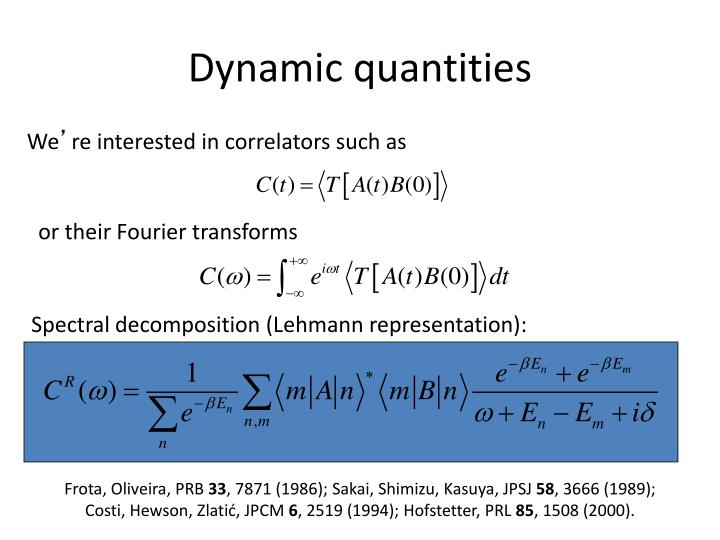 Dynamic quantities
