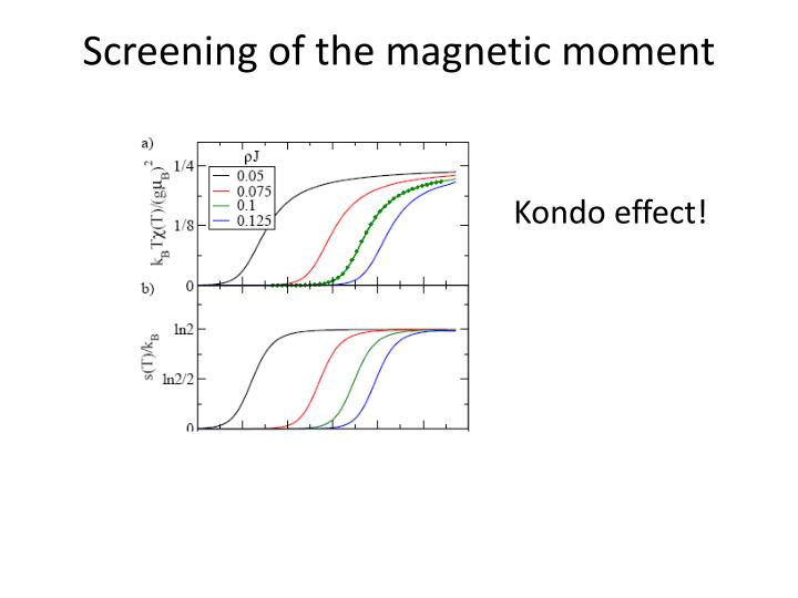 Screening of the magnetic moment