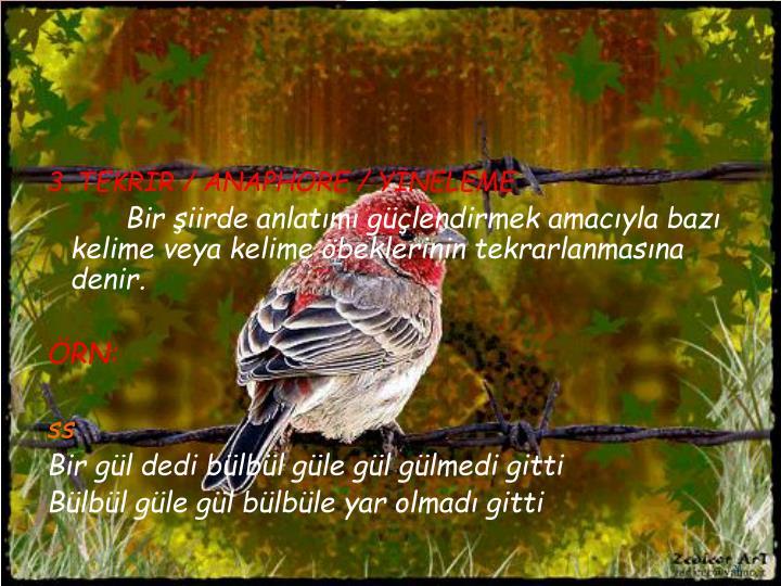 3. TEKRİR / ANAPHORE / YİNELEME