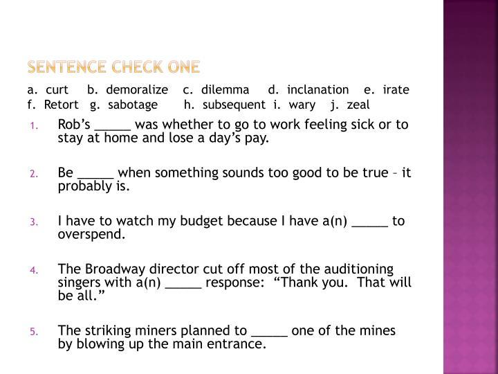 Sentence check one