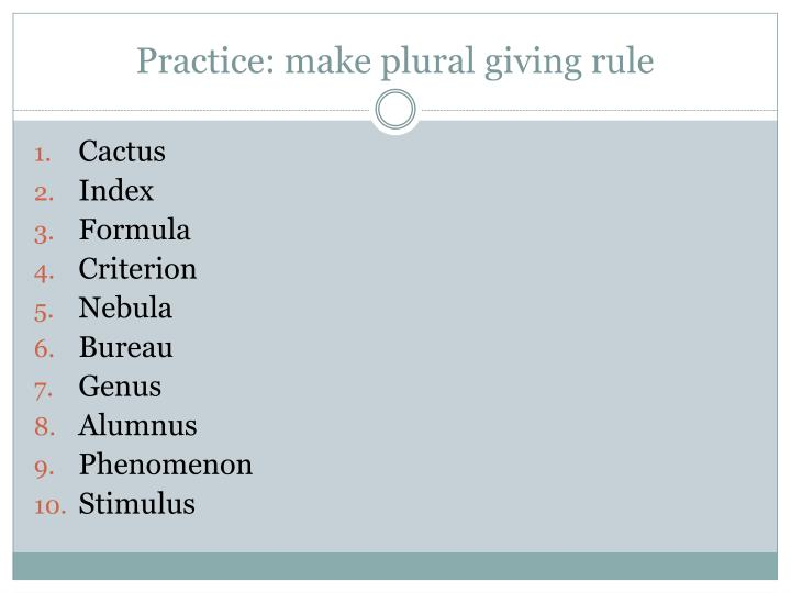 Practice: make plural giving rule