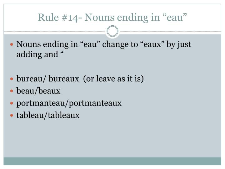 "Rule #14- Nouns ending in ""eau"""
